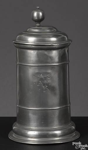 German pewter stein 18th c