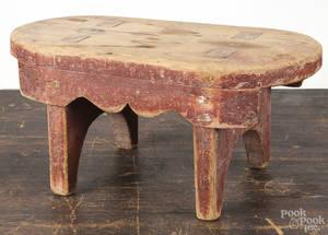 Pennsylvania painted pine mortised footstool