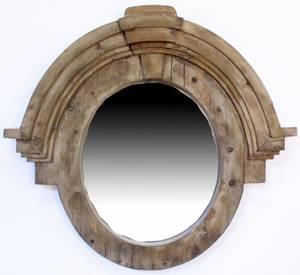 Rustic Circular Wood Framed Mirror