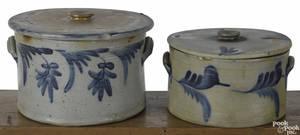 Two Pennsylvania stoneware lidded cake crocks 19th c