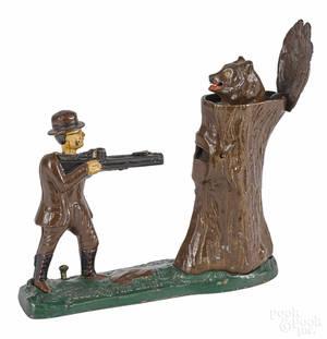 Cast iron Teddy and the Bear mechanical bank