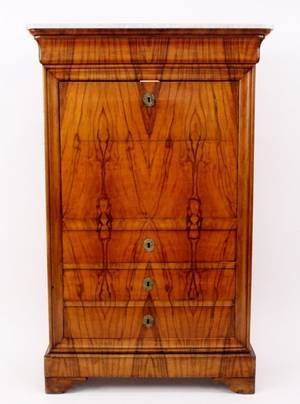 French Marble Top Secretaire A Abuttant