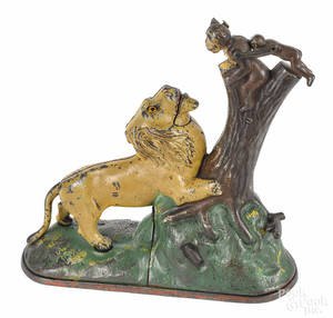 Cast iron Lion and Two Monkeys mechanical bank