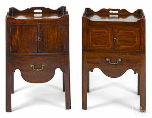 Two similar George III mahogany commodes ca 1780