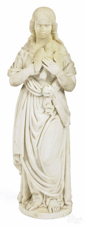 Italian carved marble of a woman with a dove late 19th c