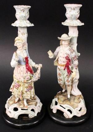 Pair of Dresden Style Porcelain Candlesticks