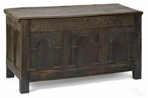 Jacobean carved oak blanket chest late 17th c