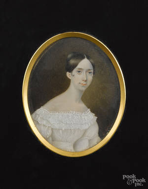 Miniature watercolor on ivory portrait of a woman mid 19th c