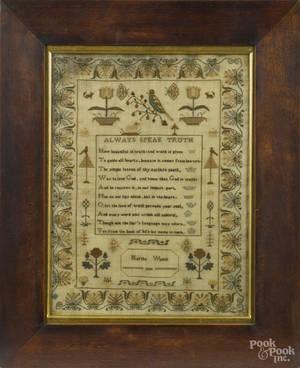 English silk on linen sampler dated
