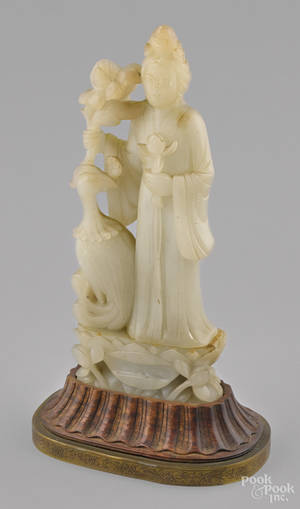 Chinese carved white jade Guanyin