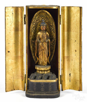 Chinese carved giltwood Buddhist shrine late 19th c