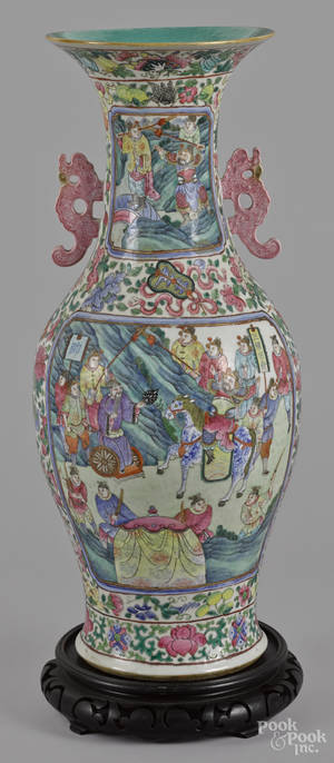 Chinese export porcelain famille rose vase 19th c