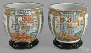 Pair of Chinese export porcelain famille rose jardinires 19th c