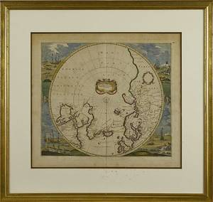 Color engraved map of the North Pole