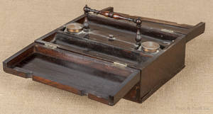 English rosewood traveling standish case