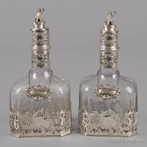 Pair of Continental silver mounted etched glass liquor bottles