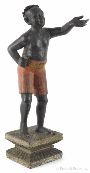 Carved and painted blackamoor figure 19th c
