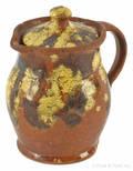 Berks County Pennsylvania redware covered cream pitcher 19th c