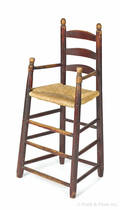 Painted New England ladderback highchair 18th c