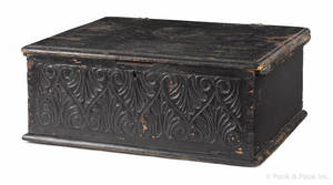 Connecticut Pilgrim Century carved and painted pine Bible box late 17th c
