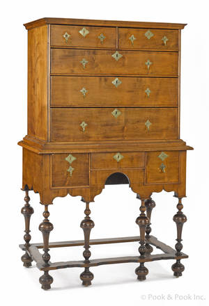 New England William  Mary maple high chest ca 1740