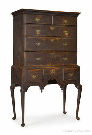 New England Queen Anne tiger maple high chest ca 1765