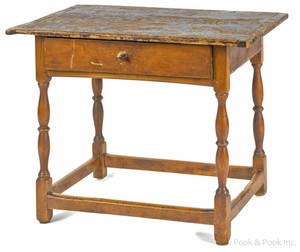 Diminutive New England pine and maple tavern table ca 1770