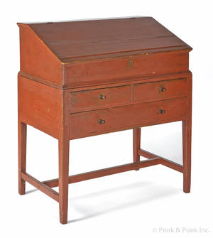 New England painted pine desk on frame early 19th c