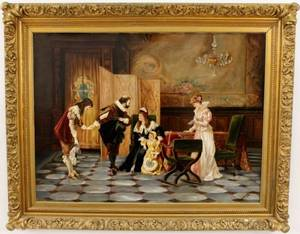 L 19th C Continental School Figural Oil Signed