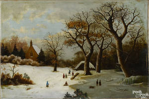 Oil on canvas winter landscape 19th c