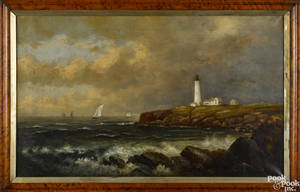 American oil on canvas coastal scene late 19th c