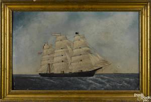 American oil on board seascape late 19th c