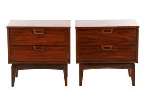 Pair of Matching MCM Walnut Nightstands