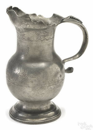 French pewter water pitcher early 18th c