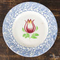 Blue and white spongeware tulip plate