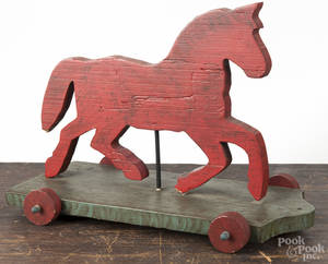 Contemporary painted pine cut out horse pull toy