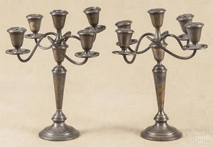 Pair of Newport weighted sterling silver candelabra