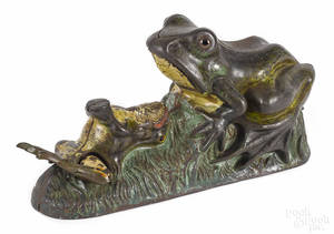 Cast iron Two Frogs mechanical bank