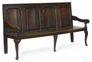 George II oak settle bench ca 1740