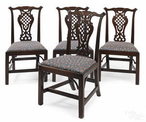 Set of four George III mahogany tasselback dining chairs ca 1800