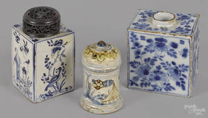 Two Delft blue and white tea caddies 18th c