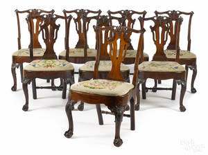 Set of eight George III mahogany dining chairs ca 1760
