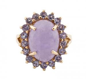 14k Gold Lavender Jade  Tanzanite Halo Ring