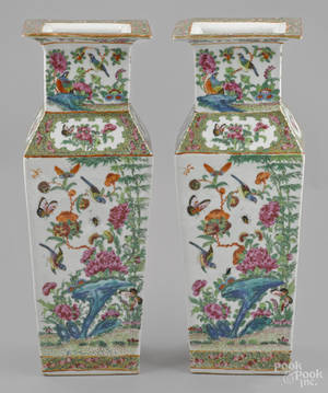 Pair of Chinese export famille rose porcelain vases 19th c