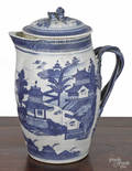 Chinese export porcelain blue and white cider jug and cover 19th c