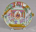 Chinese export porcelain Rose Canton armorial warming dish 19th c