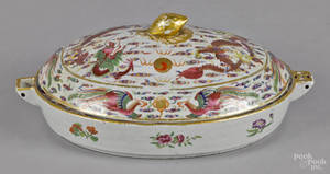 Chinese export porcelain warming dish and cover 19th c