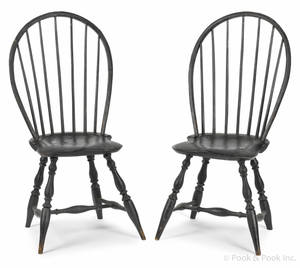 Pair of New England bowback Windsor side chairs ca 1800