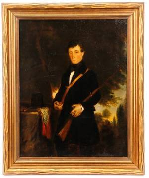 Portrait of Man with Rifle Oil on Canvas 19th C