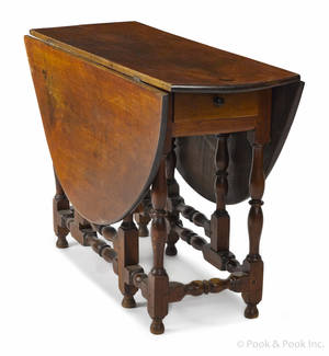 New England William  Mary tiger maple gateleg table ca 1740